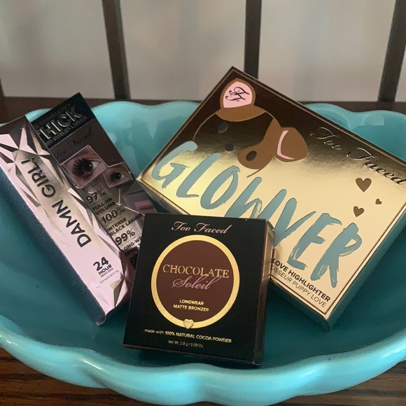 Too Faced Glowver, bronzer and mascara